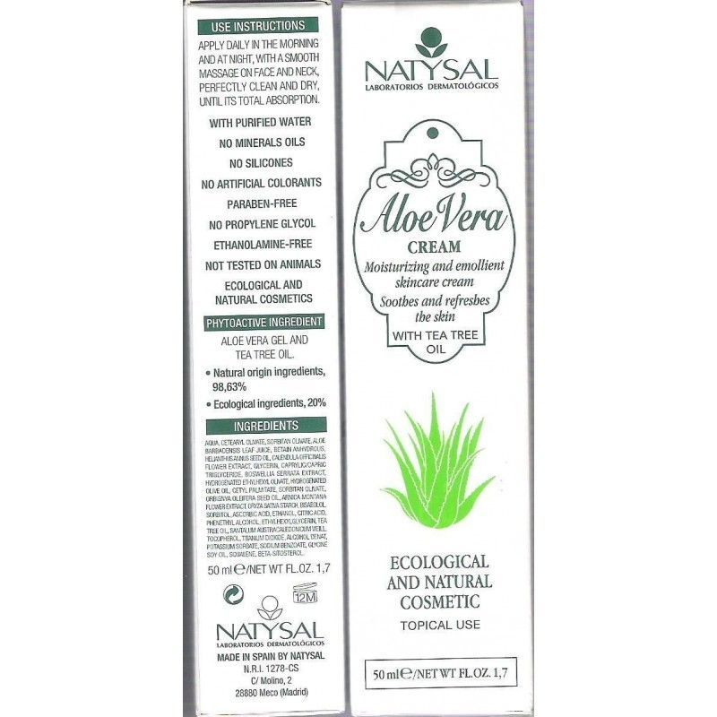 Crema de Aloe Vera (con Tea Tree), 50 ml - Natysal